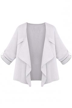 Womens Plain Irregular 3/4 Length Sleeve Short Blazer White