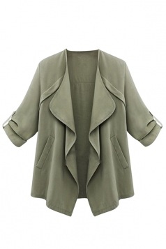 Womens Chic Irregular Pockets Plain Blazer Green