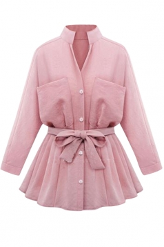 Womens Stand Collar Long Sleeve Pockets Plain Trench Coat Pink