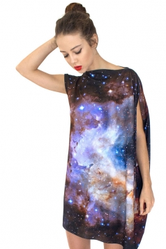 Womens Casual Boat Neck Galaxy Printed Smock Dress Purple