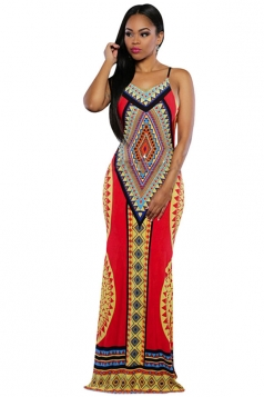 Womens Sexy Exotic Printed Backless Side Slit Maxi Dress Red