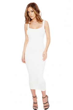 Womens Slimming Plain Sleeveless Tank Dress White