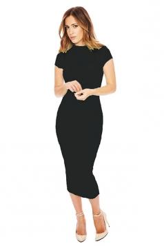 Womens Sexy Short Sleeve Plain Bodycon Dress Black