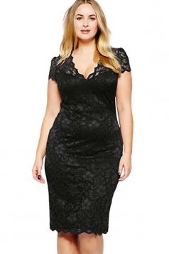 Womens Scalloped V-neck Lace Plus Size Midi Dress Black