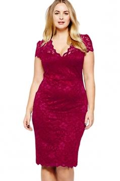 Womens Scalloped V-neck Lace Plus Size Midi Dress Ruby