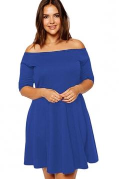 Womens Plus Size Boat Neck Half Sleeve Skater Dress Blue