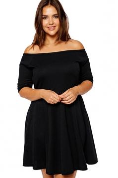 Womens Plus Size Boat Neck Half Sleeve Skater Dress Black