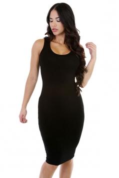 Womens Sexy Plain Bodycon Midi Tank Dress Black