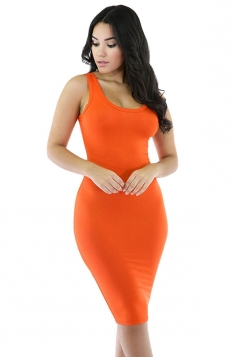 Womens Sexy Plain Bodycon Midi Tank Dress Orange