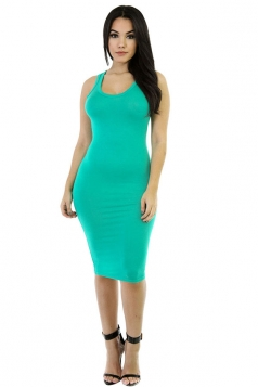Womens Sexy Plain Bodycon Midi Tank Dress Green