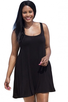 Womens Sexy Plus Size Plain Sleeveless Tank Dress Black