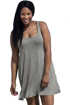 Womens Sexy Plus Size Plain Sleeveless Tank Dress Gray