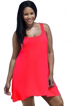 Womens Sexy Plus Size Plain Sleeveless Tank Dress Red