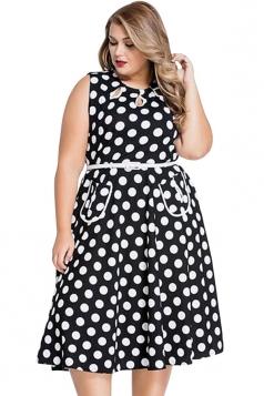 Womens Plus Size Polka Dot Print Sleeveless Midi Dress Black