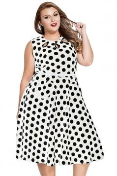 Womens Plus Size Polka Dot Print Sleeveless Midi Dress White