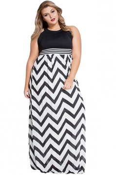 Womens Plus Size Halter Zigzag Printed Floor Length Dress Black