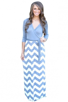 Womens Sexy Long Sleeve Wave Patterned Maxi Dress Blue