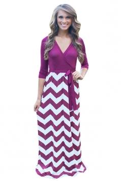 Womens Sexy Long Sleeve Wave Patterned Maxi Dress Purple