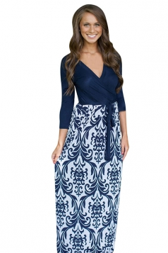 Womens Sexy Long Sleeve Floral Patterned Maxi Dress Navy Blue