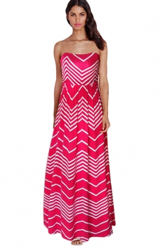 Womens Sexy Zigzag Patterned Off Shoulder Tube Maxi Dress Rose Red