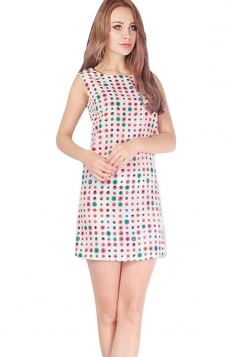 Womens Sexy Dot Printed Sleeveless Tank Dress White