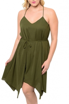 Womens Sexy Plus Size Plain Spaghetti Straps Midi Dress Army Green