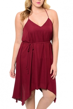 Womens Sexy Plus Size Plain Spaghetti Straps Midi Dress Ruby