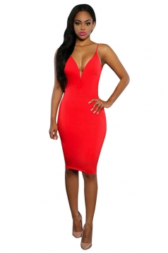 Womens Sexy V Neck Backless Sleeveless Clubwear Dress Red