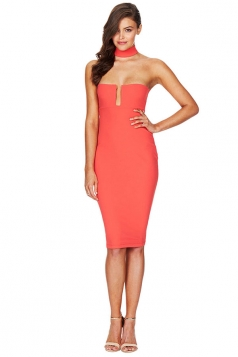 Womens Sexy Halter Off Shoulder Plain Clubwear Dress Orange