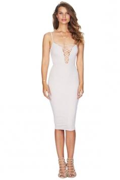 Womens Sexy Cross Lace-up Spaghetti Straps Clubwear Dress White