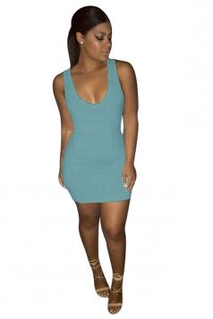 Women Sexy Plain Sleeveless Bodycon Tank Dress Blue