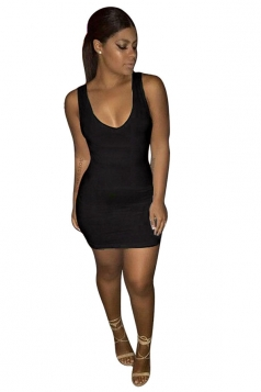 Women Sexy Plain Sleeveless Bodycon Tank Dress Black