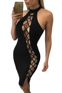 Womens Sexy Lace Up Halter Cut Out Midi Clubwear Dress Black