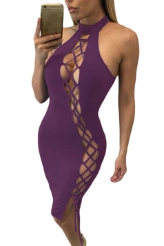 Womens Sexy Lace Up Halter Cut Out Midi Clubwear Dress Purple