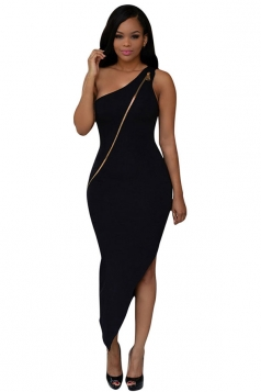 Womens Sexy Zipper One Shoulder Irregular Hem Dress Black
