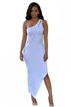 Womens Sexy Zipper One Shoulder Irregular Hem Dress White