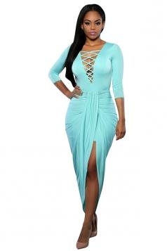 Womens Sexy Lace Up V Neck Slit Front Long Sleeve Dress Blue