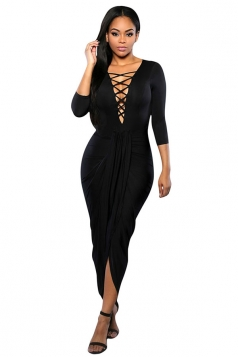 Womens Sexy Lace Up V Neck Slit Front Long Sleeve Dress Black