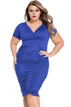Womens Plus Size Plain V Neck Draped Midi Dress Blue