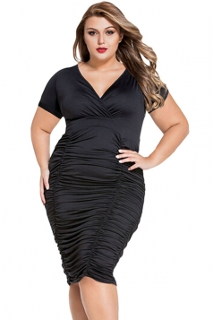 Womens Plus Size Plain V Neck Draped Midi Dress Black