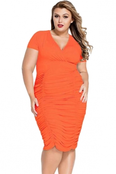 Womens Sexy Plus Size Ruched Short Sleeve Midi Dress Orange