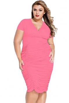 Womens Sexy Plus Size Ruched Short Sleeve Midi Dress Pink