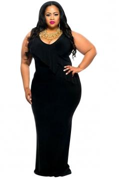 Womens Plus Size Ruffle Reversible Tank Maxi Dress Black