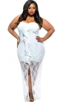 Womens Plus Size Ruffle Sleeveless Lace Dress Rose White
