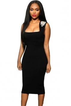 Womens Sexy Jeweled Shoulder Sleeveless Bodycon Midi Dress Black