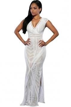 Womens Sexy V Neck Side Slit Sleeveless Maxi Dress White