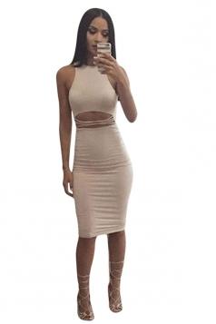Womens Sexy Lace-up Crop Sleeveless Clubwear Dress White