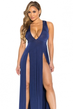 Womens Sexy V Neck Slit Front Sleeveless Maxi Clubwear Dress Blue