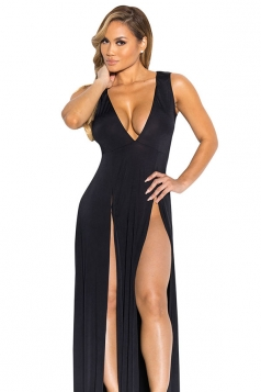 Womens Sexy V Neck Slit Front Sleeveless Maxi Clubwear Dress Black