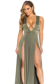 Womens Sexy V Neck Slit Front Sleeveless Maxi Clubwear Dress Green